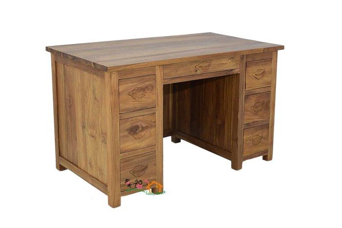 幸福家傢俱 柚木電腦桌(DESK 02-2).七抽書桌 全柚木,柚木家俱