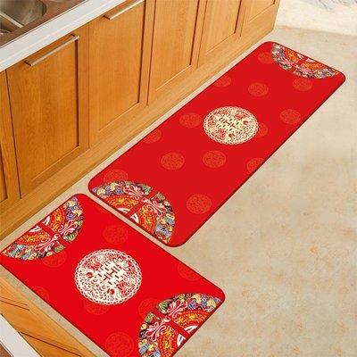 廚房地墊吸水防油地毯防滑結婚地墊門墊進門紅色喜慶家用布置婚慶