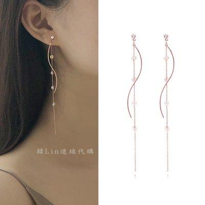 【韓Lin連線代購】韓國 GET ME BLIN - 抗敏925銀針耳環 WAVE GLASS RING