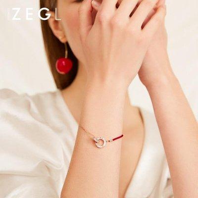 紅繩手鍊女網紅韓版簡約個性小眾設計本命年禮物紅色手繩