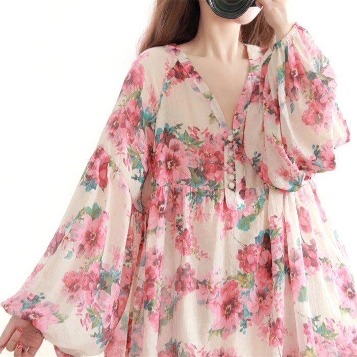 襯衫 浪漫 燈籠袖  中大尺碼 女 長袖 粉色 上衣 ~ 4021