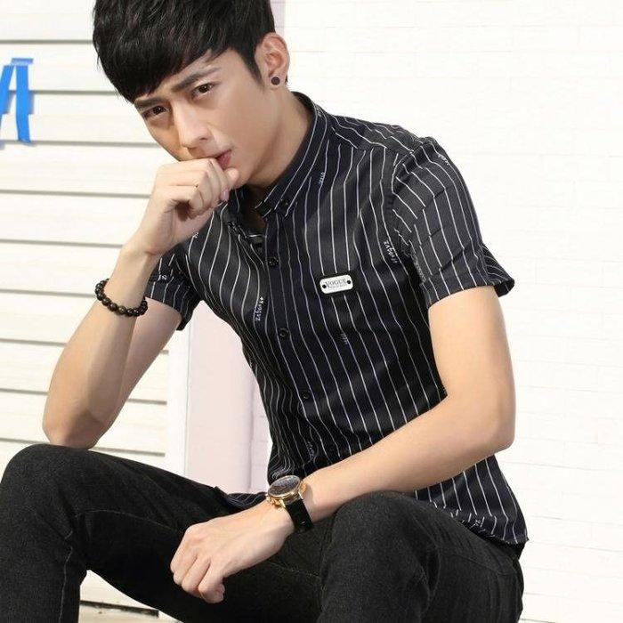 短袖條紋襯衫 男士修身條紋薄款青少年襯衣t340