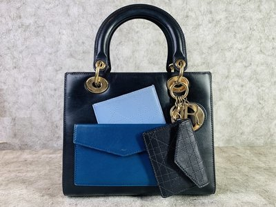 【哈極品】二手品《Christian Dior 經典Lady Dior 限量黑色全皮黛妃包-5格 手提包/肩背包》
