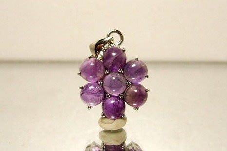 小風鈴~天然15mm鑲框花朵造型紫水晶墬~招貴人.助學業.