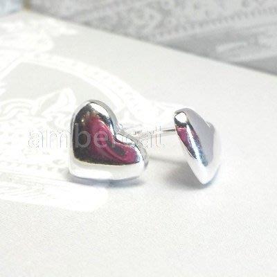 琥珀貓銀飾DIY【925純銀飾品】耳飾~耳針~A0438~8.6mm愛心~一對