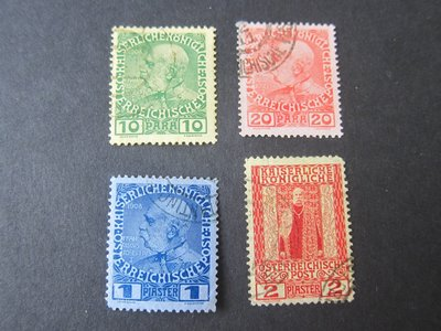 【雲品】奧地利Austria offices in Turkey 1908 Sc 46,47,49,51 FU 庫號#64996
