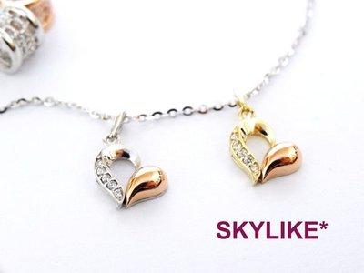 *SKYLIKE* 最可愛-韓國進口墜585/14k白K金、黃K金、玫瑰金亮面可愛風心型鋯石墬子,PJ-29126