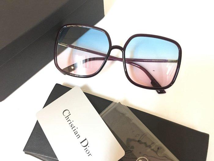 安安精品保證正品~現貨明星款DIOR太陽眼鏡 墨鏡 高雅大方框款/酒紅藍粉鏡片 #SOSTELLAIRE1