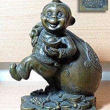 【 金王記拍寶網 】329 大明宣德款 開運招財猴 銅雕一尊 罕見 稀少~
