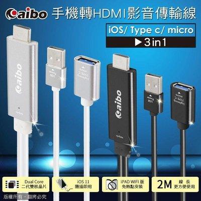 --庫米--三合一 手機轉HDMI影音傳輸線(iOS/Type-C/Micro)-2M黑色