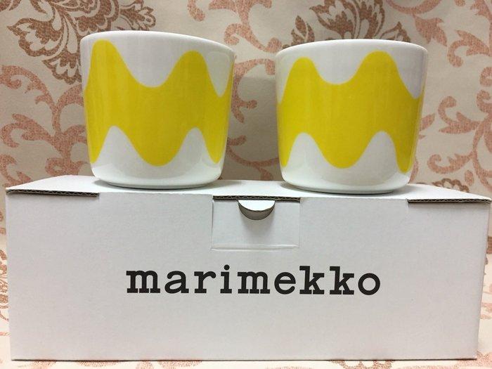 私人收藏出售:芬蘭Marimekko Lokki 黃色海鷗咖啡杯,一組二個