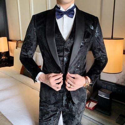 【時尚先生男裝】新郎西服套裝男士三件套修身韓版結婚禮服商務正裝絲絨印花西裝男韓版西裝 修身西裝 整套西裝 西裝褲 西裝外套正式西裝A0046