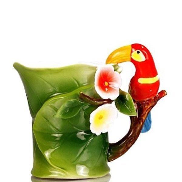 5Cgo【鴿樓】琺琅瓷 熱帶天堂鳥 鸚鵡 馬克杯 辦公室居家水杯 250ml 二個1千免運