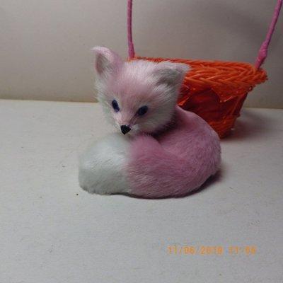 紫晶宮***仿真可爱小狐狸粉紅色橘提藍狐狸摆件***品質保證價格便宜