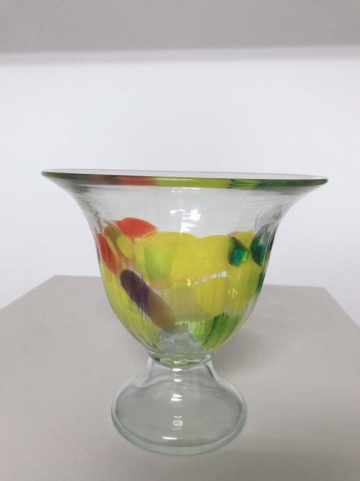 客廳裝飾花盆擺件 簡約玻璃花瓶 水培植物容器 北歐裝飾風(黃)