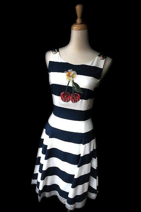 *Beauty*DOLCE&GABBANA藍白條紋背心洋裝  36號15000元W18