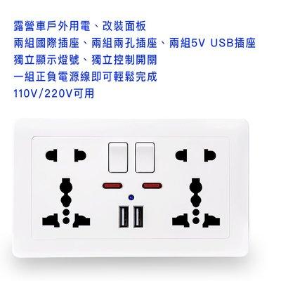 多功能壁插,露營車戶外用電、車床族改裝面板 110V/220V/5V USB供電