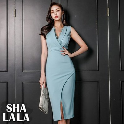 SHA LA LA 莎菈菈 韓版名媛氣質V領修身拼接蕾絲包臀開岔連衣裙洋裝(S~XL)2019050716預購款