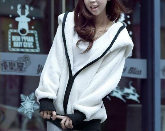 ☆Candy Box☆可爱萌熊猫装耳朵秋冬季女装毛毛绒绒厚外套 Y1822454