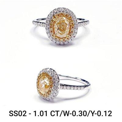 天然黃色彩鑽1.01克拉~這個顏色很可以而且價錢美麗