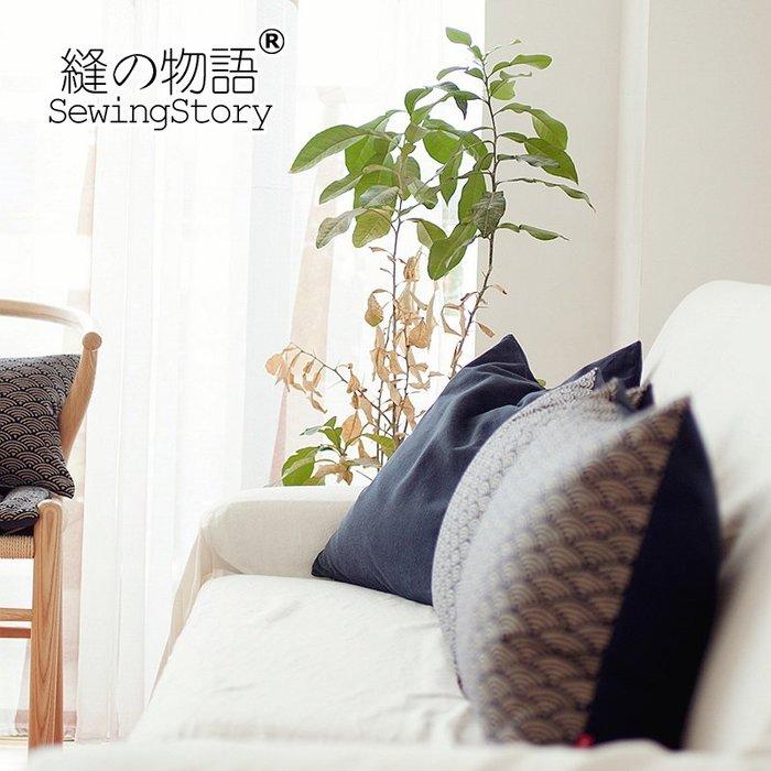 文藝日式和風雙面麻布布藝印花客廳臥室抱枕汽車沙發靠墊