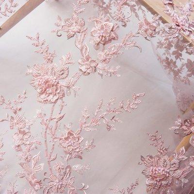 橙子的店 W187原版高定手工釘珠立體刺繡軟網紗定位繡花蕾絲布面料禮服用料