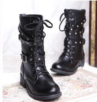 ☆女孩衣著☆英倫系帶馬丁靴女粗跟女鞋春秋短靴单靴鉚釘機車靴棉靴中跟女靴子(NO.30)