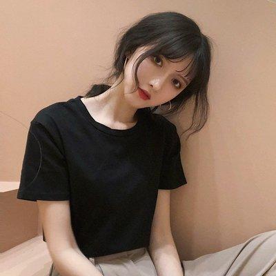 黑色T恤女2020春夏新款圓領百搭基礎短袖上衣韓版百搭白色打底衫