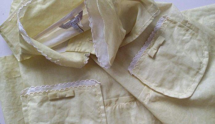 【Shiatzy Chen】夏姿檸檬黃類烏干紗花瓣旗袍領背心式外套洋裝兩穿(原價$39800)