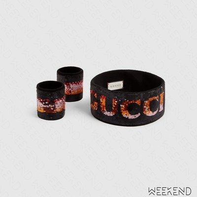 【WEEKEND】 GUCCI Logo Sequin 彈性 亮片 髮帶 頭帶 護腕 黑色 撞色