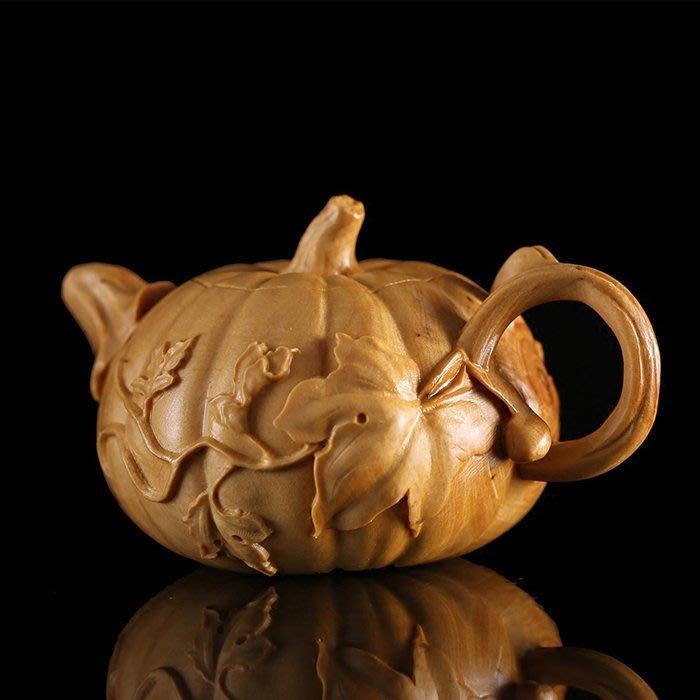 5Cgo【茗道】含稅544695787094 黃楊木雕手把件把玩擺件茶寵雕刻工藝文化禮品植物南瓜壺茶壺精品古典茶玩博古架