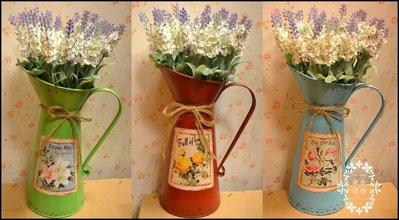 鐵製彩色水壺澆花器花器 仿古做舊紅/綠...