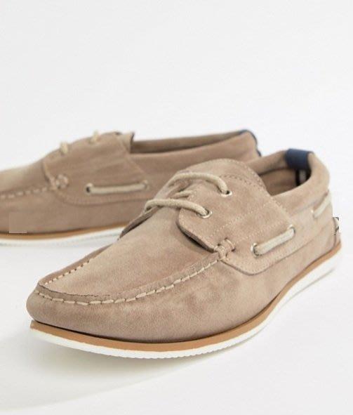 ◎美國代買◎ASOS代買膠與白色搭配鞋底鞋帶鞋身英倫雅痞時尚灰色麂皮帆船鞋~歐美時尚~大尺碼