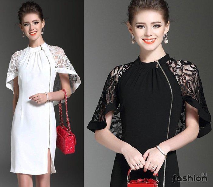 〔現貨館〕名媛蕾絲無袖披肩式連身洋裝禮服裙.拉鍊外套(黑/白9081)L.XL.2XL中大碼