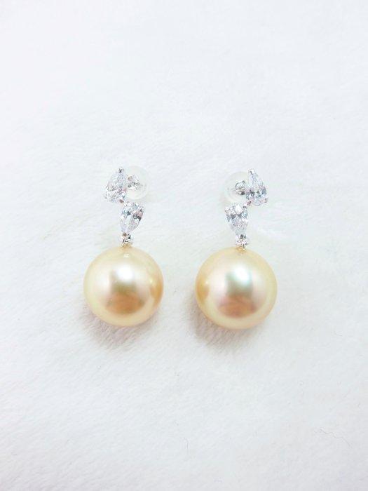 11.5mm南洋黃金珍珠耳環【元圓珠寶】