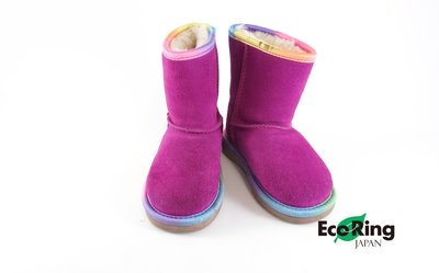 [Eco Ring]*UGG Kid's Short Boots /Size23.5 / Suede / Purple*Rank AB -197012631-