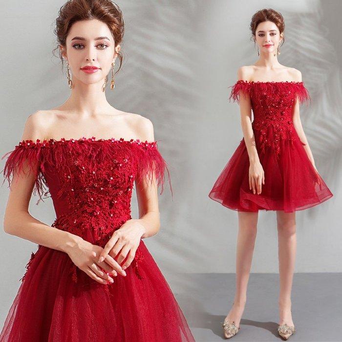 新年婚禮禮服婚紗禮服宴會禮服紅色短款摩登羽毛新娘婚紗小禮服結婚敬酒服批發