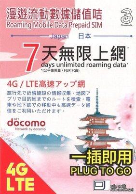 2020/12/31 日本 Docomo 7天 無限流量 7GB降速 上網 sim卡 上網卡 網路卡 無需下載描述檔