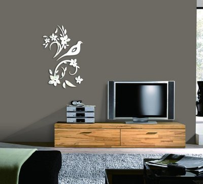 鳥 花朵 花 植物 鳥語花香 鏡面貼 牆貼 壁貼 開店 裝潢 居家裝飾 婚禮 佈置 臥室 客廳 【YA 17】