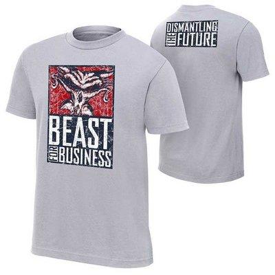 WWE摔角衣服Brock Lesnar Paul Heyman Beast For Business野獸職業灰色短袖T恤