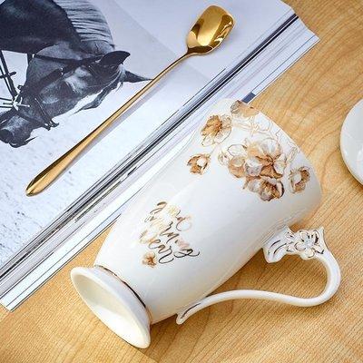 馬克杯 創意歐式陶瓷馬克杯子帶蓋勺精致骨瓷咖啡杯大容量個性辦公室水杯
