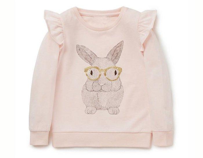 ☆草莓花園☆BM-2818 粉色眼鏡兔 歐美風兒童長袖衣服 純棉童T 女童  童T恤