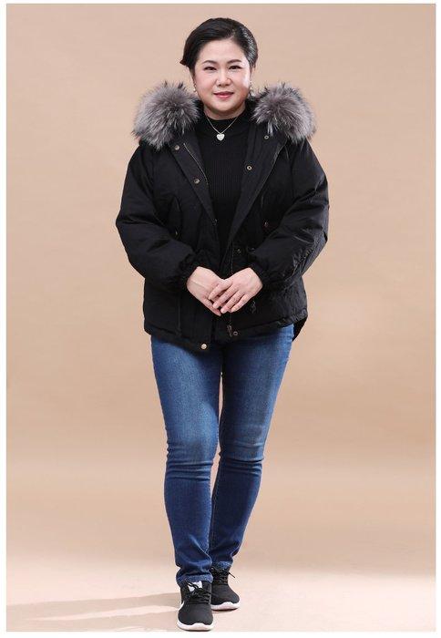 2288C 黑配灰短款連帽加厚羽絨服2XL-5XL秋冬婆婆裝媽媽裝風衣女裝外套大尺碼大碼超大尺碼