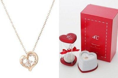 【芬芳時尚】 日本專櫃購回  4°C 日本品牌4度c純10K玫瑰金鑽石項鍊 2012年限量「Flowery you」