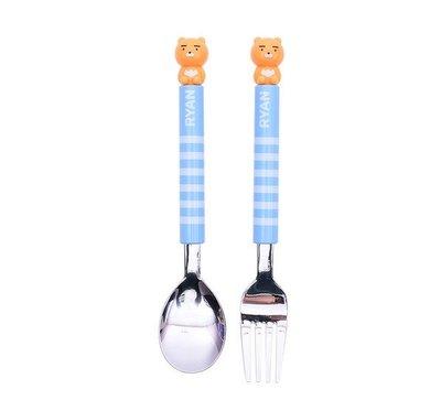 ♀高麗妹♀韓國 KAKAO FRIENDS 隊長萊恩 304不鏽鋼湯匙+叉子 二件式環保餐具組(預購)