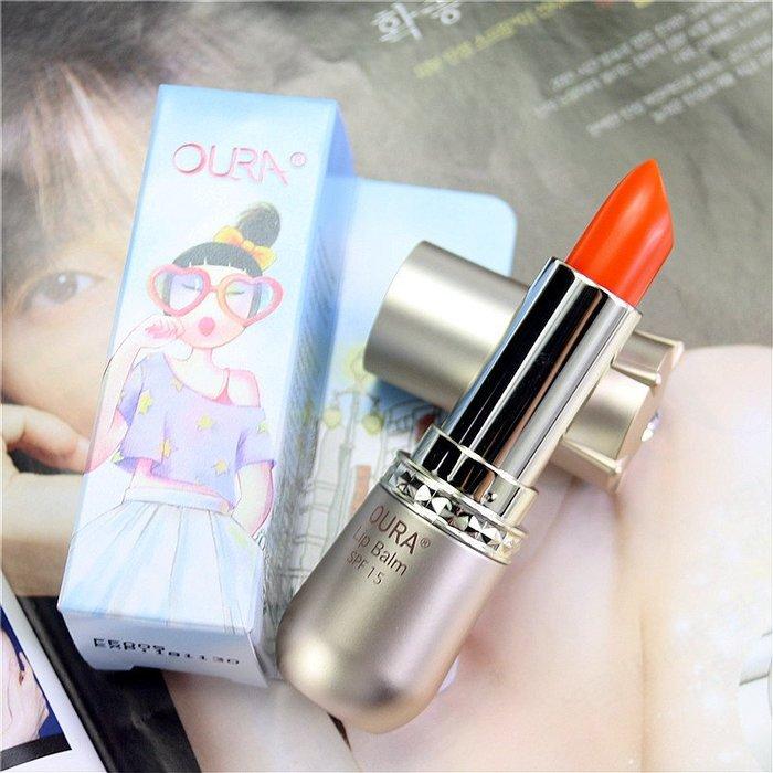 【小糖雜貨舖】韓國 愛茉莉 OURA 馬油 修護 唇膏 護唇膏 - 橘