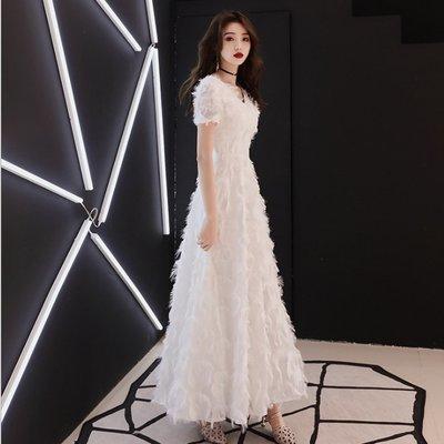 【職業裝】CK8069*禮服裙 高貴優雅白色走秀主持人顯瘦晚禮服名媛聚會連衣裙