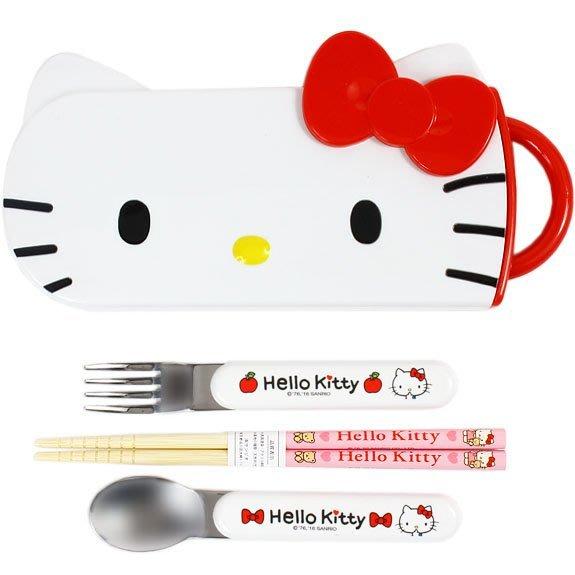 現貨 ◎日本直送◎ Kitty大頭 抽屜式滑蓋 隨身環保餐具三件組 日本製 (筷子、湯匙、叉子)