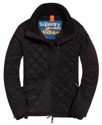 低調簡約 跩狗嚴選 極度乾燥 Superdry Hiker 單排拉鍊 超細纖維 格紋縫線 保暖 無帽 風衣 外套 黑