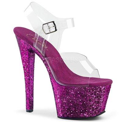 Shoes InStyle《七吋》美國品牌 PLEASER 原廠正品透明金蔥厚底高跟涼鞋 有大尺碼『紫色』